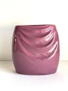 Vintage Haeger Drape Mauve 1980s Art Deco Style Ceramic Vase   80s Home Decor