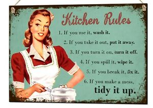 Kitchen Rules Quote Metal Sign Wall Art Home Décor Plaque