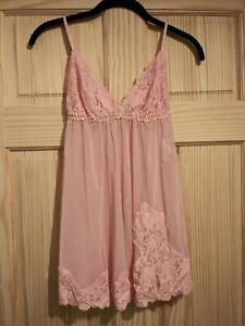 Frederick's Of Hollywood Size Small Pink Mesh Lace Nightie Babydoll floral