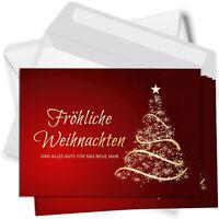 15 Weihnachtskarten mit Umschlag Set Grußkarten Weihnachten rot Tannenbaum