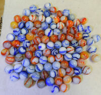#10643m Vintage Group or Bulk Lot of 100 Peltier Glass Marbles .57 to .66 Inches