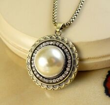 Simulated Pearl half dome snap button bronze lg pendant w/necklace gifts women