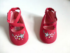 Baby Girl's Pre-Walker Soft Soled Shoes- Pink/Floral Design- Age 12-18 Mos-NEW