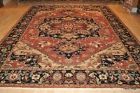 9' x 12' PAERSSIAN HERIS Fine Quality Handmade Hand-knotted Coral Color Rug