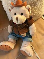"John Adams 13"" Cream Soft Touch Teddy Bear, dressed as a Cowboy VVGC"