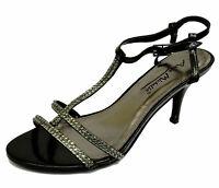 Ladies Anne Michelle Heeled Sandals Gold// Black//Silver//Pewter UK 3-8  F10158
