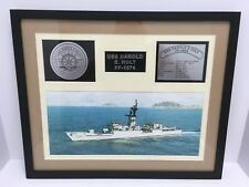 """USS Harold E Holt FF 1074 Framed Navy Ship Display 21"""" x 17"""" Good Used Condition"""