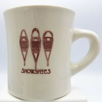 Snowshoes Coffee Mug Heavy Diner Style Winter Snow 3 Huron Type Brown Graphic