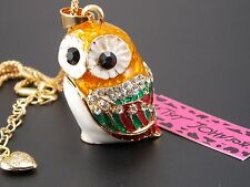 Betsey Johnson Fashion Jewelry Shiny crystal cute owl pendant Necklace # A253