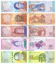VENEZUELA 2 + 5 + 10 + 20 + 50 BOLIVARES Set di 5 BANCONOTE 5 PZ UNC