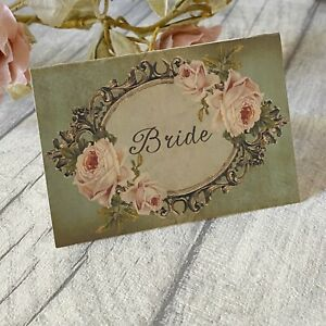 Wedding Table Guest Place Name Cards - Vintage style - set of 10