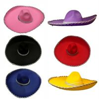 Adults Mens Womens Mexican Hat Spanish Costume Sombrero Hat Silver Trim Party