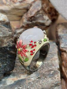 Southwestern Sterling Silver Rose Quartz Enamel Flower Ring Canada Fine Lot