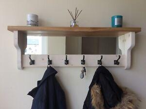 *Beautiful quality handmade wooden coat hook rack with mirror & Solid Oak Shelf*