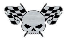 Logo adhésif gravé SKULL RACING tête de mort Drapeau Damier - 7cm x 4cm - ép.1mm