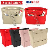 Portable Felt Fabric Purse Handbag Organizer Bag W/ Multi Pocket Insert S/L SIZE