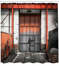 """Industrial Decor Shower Curtain Metal Gate Old Print for Bathroom 84"""" Extralong"""