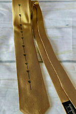 Vtg Mid Century Modern 1950's Gold Thin Tie All Silk Italy Carini Atomic Age