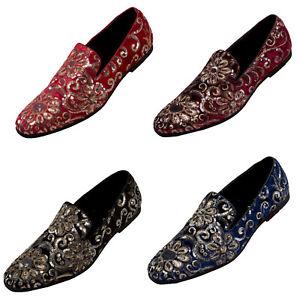 Amali Mens Slip On Tuxedo Dress Shoe Velvet Floral Sequin Formal Smoking Loafers