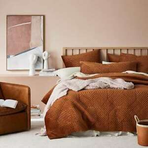 Ellery Quilted Velvet double cover -RUST