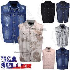 Mens Denim Vest Jean Jacket Button Casual Sleeveless Coat Vintage Tank Fashion