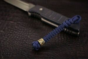 """550 Paracord / """"Rondelle Tibet """" paracord lanyard/Hand-molded brass bead"""