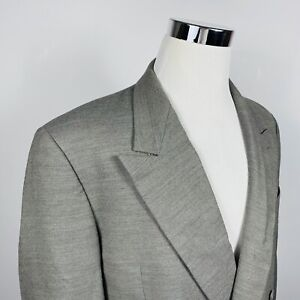 Giorgio Armani Mens 40R Vintage Sport Coat Double Breasted Gray 100% Wool Italy