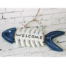 """WELCOME Wooden Fish Skeleton Wall Hanging Home Shop Nautical Decoration 10"""""""