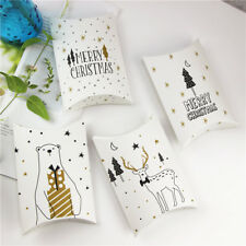 5-50X New Gold Black Christmas Pillow Party Paper Favour Candy Sweets Gift Boxes