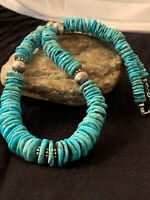 Native American Navajo Graduated Blue Turquoise Sterling Silver Necklace 4661