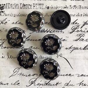 6 Vintage Antique Black Glass W/Dark Silver Indented Flower Buttons