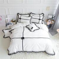 Luxury  Cotton Bedding Set 4Pcs  Wedding Bed Set Cover Bedsheet Korean Lace Bow