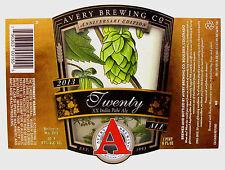 Avery Brewing Co TWENTY - XX - INDIA PALE ALE label CO 22oz 2013 ANNIV. EDN