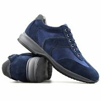 Mens Leather Suede Casual Running Gym Sports Shock Absorbing Trainers Shoes Size