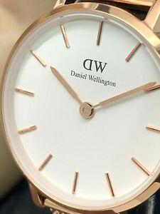 Daniel Wellington Women's Watch DW00100219 White Dial 28mm Rose Gold Mesh Strap