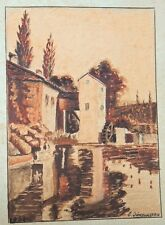 France 1938: The Old Mill, Exquisite Miniature Inkwash Drawing, Signed