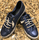 Women's Sperry Top-Sider Leather Sneakers Boat Shoes and Laces Blue Size 6M EUC