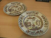 2 OLD VINTAGE masons ironstone ORIENTAL STYLE DINNER PLATES large chinese