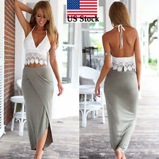 Women Bodycon Slim Bandage Two Piece Crop Tops Pure Sleeveless Skirt Dress Set L