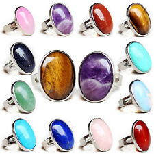 Natural gemstones Botswana Reiki Chakra Oval Alloy Opening Adjustable Thumb Ring