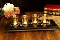 Classical Clear glass Cup Tea Light Electric LED Decor Lamp Candle Holders Set