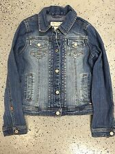 Limited Too Denim Jacket Girls Sz Small Blue Silver Stud Trim Snap Front (O196)