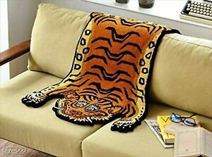 Tibetan Tiger Rug DTTR-01 L size W90xD160xH1.8cm BLUE New from Japan