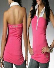NWT DEREON BLOCK LOVE FAMINGO pink HALTER POLO shirt top STRETCHY XL