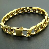 Men's 14K Yellow Gold Plated 9 Inches Chain Cuban Link Bracelet 6 mm Curb Chain