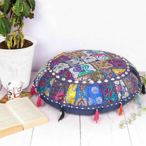 """EMBROIDERED 32"""" ETHNIC COTTON ROUND FLOOR CUSHION COVER BEADS WORK PILLOW CASES"""