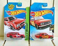 Hotwheels 71 Datsun 510 2014 Wagon 2019 Sedan Lot Of 2 Die Cast 1:64 Red