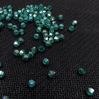 #5301 DIY jewelry 3mm/4mm Glass Crystal Bicone bead 1000pcs Malachite Green AB