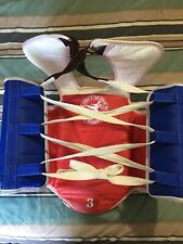 Taekwondo Chest Guard Chest Protector Reversible #3. Blue & Red Lace Up Good Con
