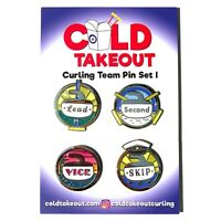 Curling Team Pin Set of Four Enamel Pins Gift for Curling Team NEW